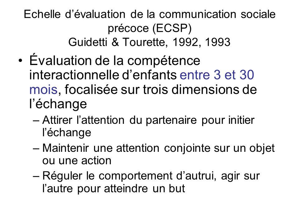 Echelle dévaluation de la communication sociale précoce (ECSP) Guidetti & Tourette, 1992, 1993 Évaluation de la compétence interactionnelle denfants e