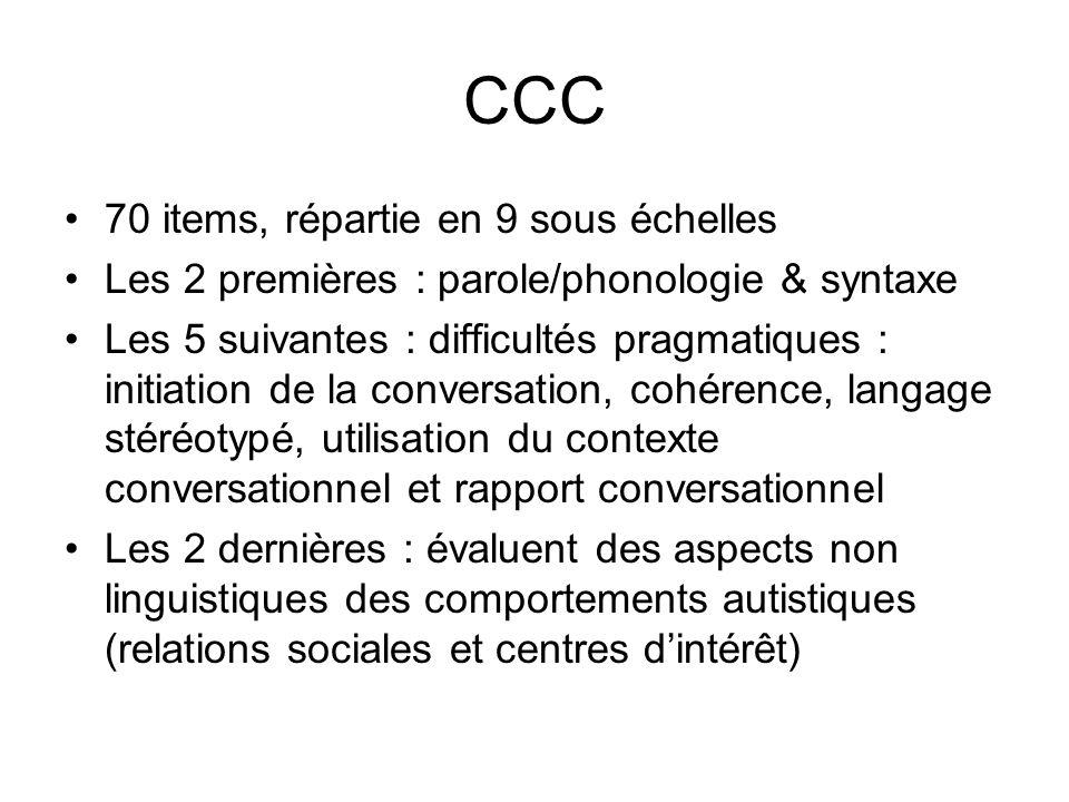 CCC 70 items, répartie en 9 sous échelles Les 2 premières : parole/phonologie & syntaxe Les 5 suivantes : difficultés pragmatiques : initiation de la