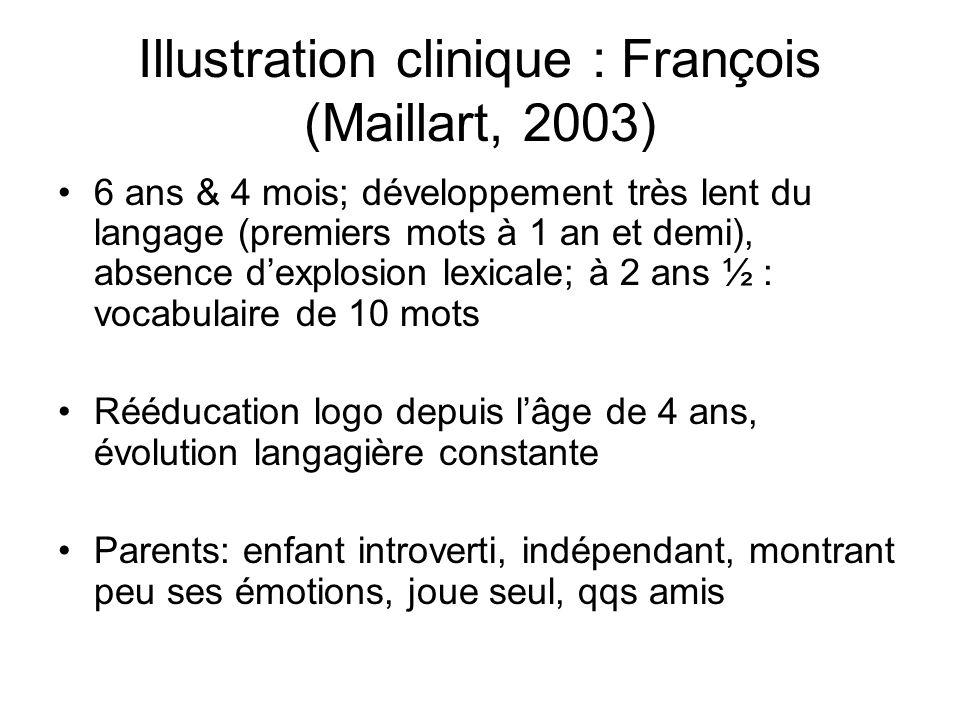 Illustration clinique : François (Maillart, 2003) 6 ans & 4 mois; développement très lent du langage (premiers mots à 1 an et demi), absence dexplosio