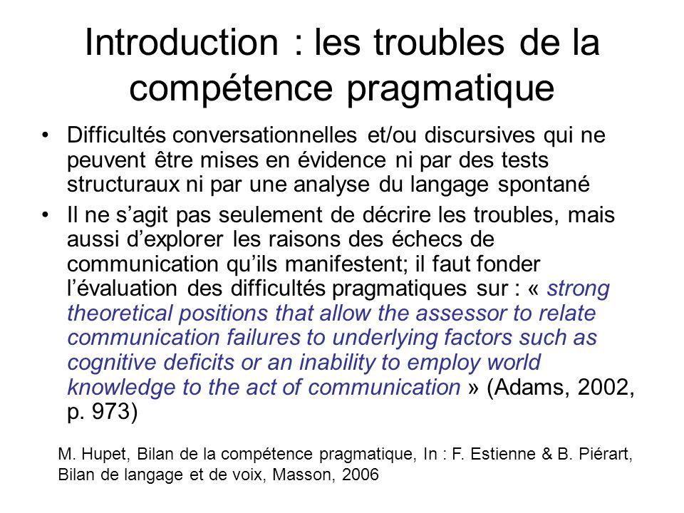 Introduction : les troubles de la compétence pragmatique Difficultés conversationnelles et/ou discursives qui ne peuvent être mises en évidence ni par