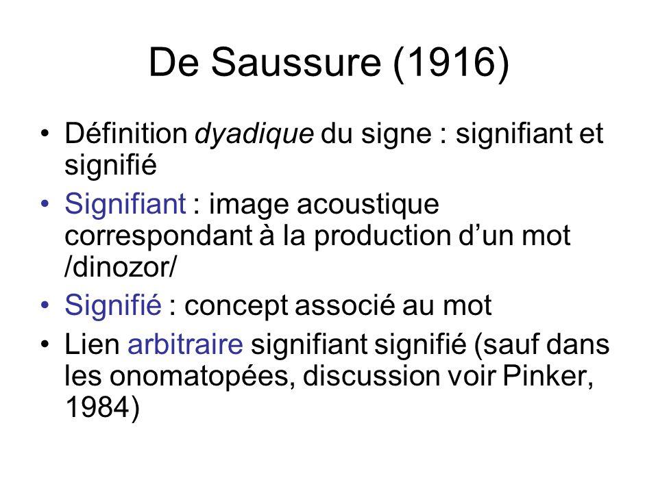 De Saussure (1916) Définition dyadique du signe : signifiant et signifié Signifiant : image acoustique correspondant à la production dun mot /dinozor/