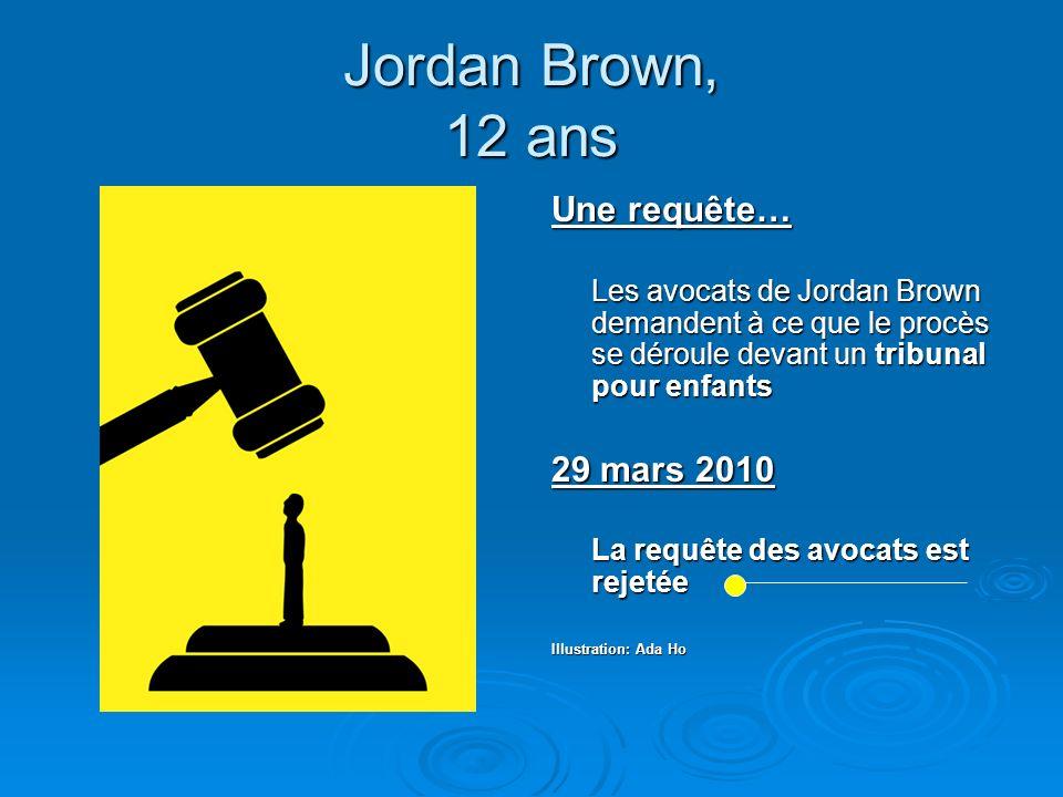 Jordan Brown, 12 ans Une requête… Les avocats de Jordan Brown demandent à ce que le procès se déroule devant un tribunal pour enfants 29 mars 2010 La
