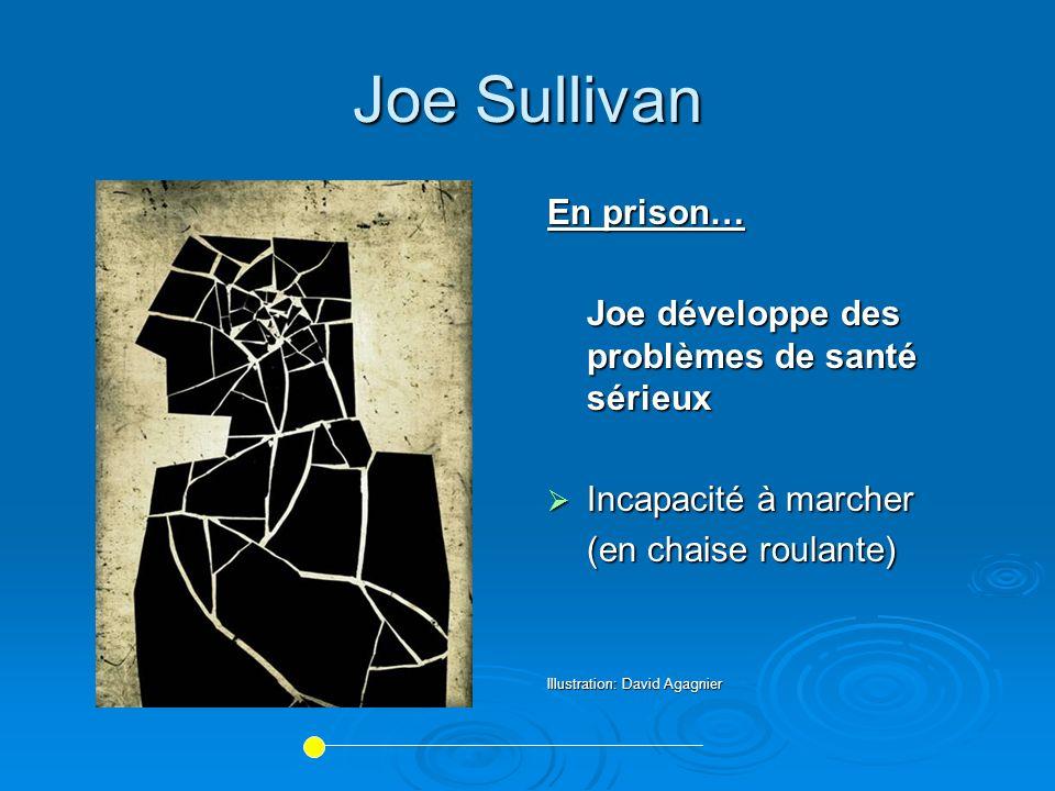 Joe Sullivan En prison… Joe développe des problèmes de santé sérieux Incapacité à marcher Incapacité à marcher (en chaise roulante) Illustration: Davi