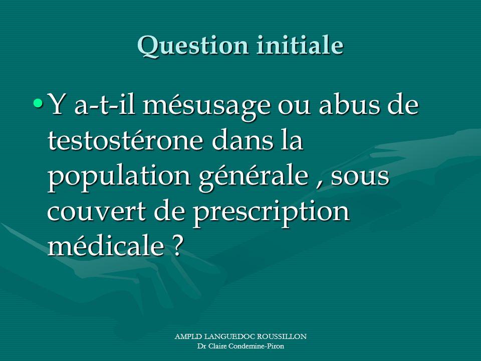 AMPLD LANGUEDOC ROUSSILLON Dr Claire Condemine-Piron Question initiale Y a-t-il mésusage ou abus de testostérone dans la population générale, sous cou