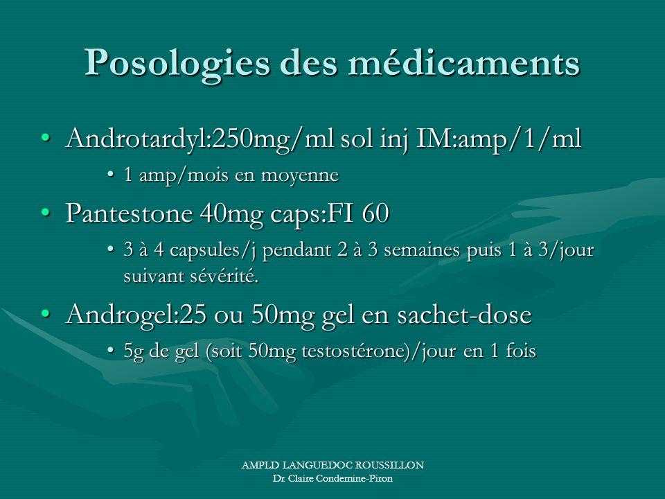 AMPLD LANGUEDOC ROUSSILLON Dr Claire Condemine-Piron Posologies des médicaments Androtardyl:250mg/ml sol inj IM:amp/1/mlAndrotardyl:250mg/ml sol inj I