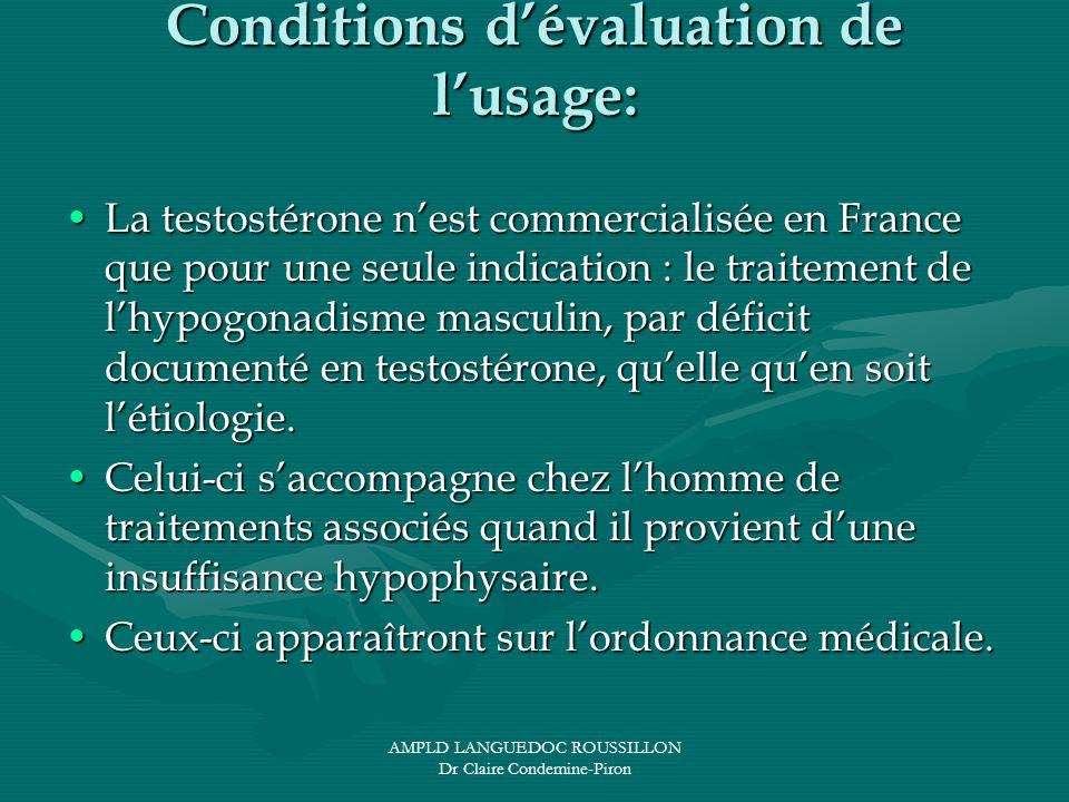 AMPLD LANGUEDOC ROUSSILLON Dr Claire Condemine-Piron Conditions dévaluation de lusage: La testostérone nest commercialisée en France que pour une seul