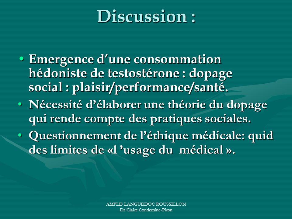 AMPLD LANGUEDOC ROUSSILLON Dr Claire Condemine-Piron Discussion : Emergence dune consommation hédoniste de testostérone : dopage social : plaisir/perf