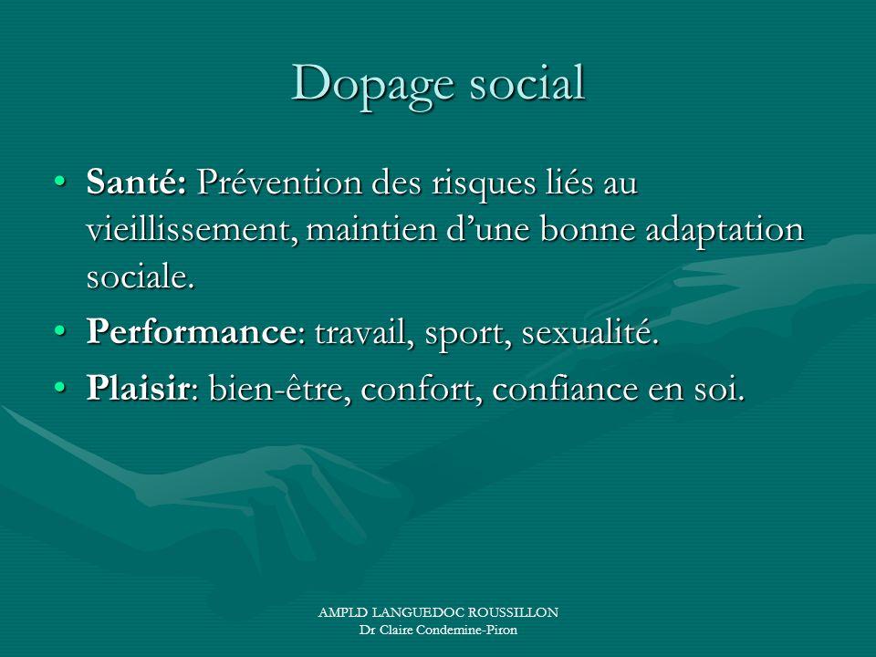 AMPLD LANGUEDOC ROUSSILLON Dr Claire Condemine-Piron Dopage social Santé: Prévention des risques liés au vieillissement, maintien dune bonne adaptatio