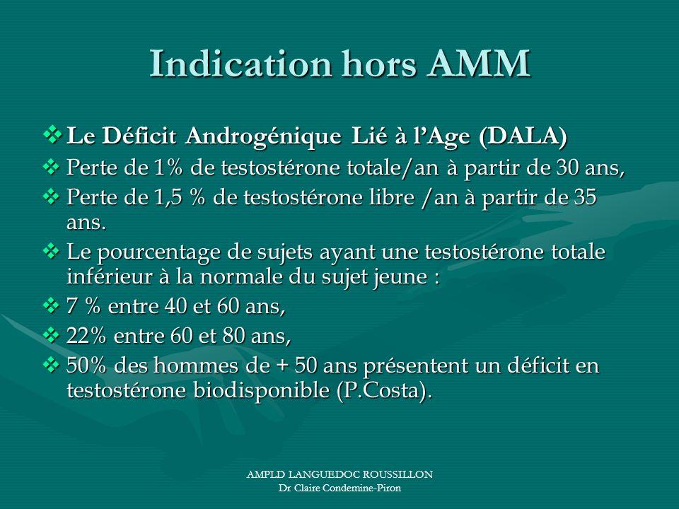 AMPLD LANGUEDOC ROUSSILLON Dr Claire Condemine-Piron Indication hors AMM Le Déficit Androgénique Lié à lAge (DALA) Le Déficit Androgénique Lié à lAge