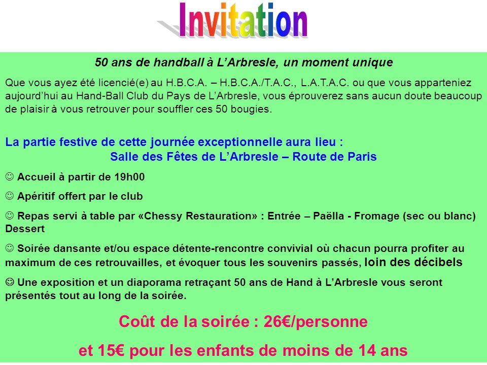50 ans de handball à LArbresle, un moment unique Que vous ayez été licencié(e) au H.B.C.A.