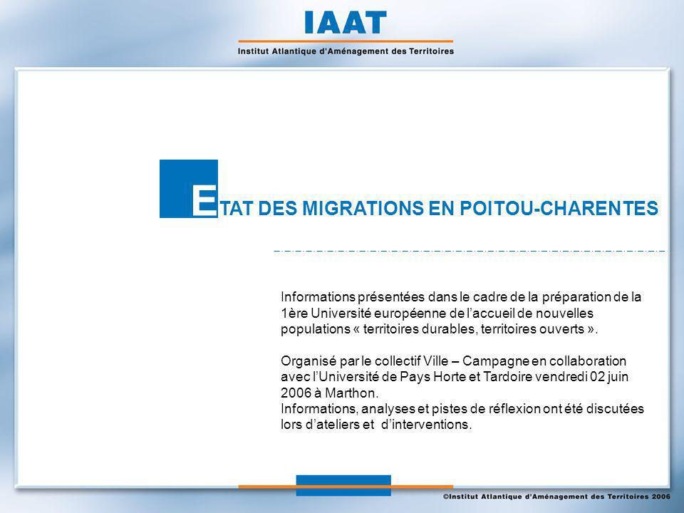 E TAT DES MIGRATIONS EN POITOU-CHARENTES Informations présentées dans le cadre de la préparation de la 1ère Université européenne de laccueil de nouvelles populations « territoires durables, territoires ouverts ».