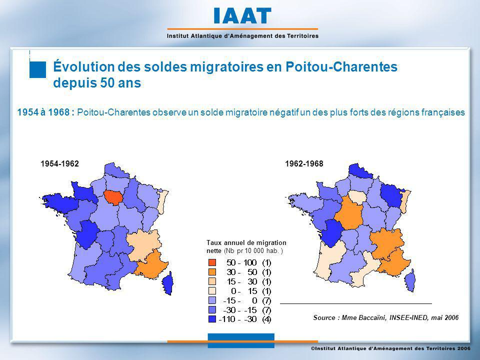 Regard sur une classe dâges : les plus de 60 ans arrivés en Poitou-Charentes entre 1990 et 1999 L arrivée de personnes de plus de 60 ans est particulièrement significative sur le littoral entre Royan et La Rochelle mais également dans le Montmorillonnais, le Civraisien, le Ruffécois, et une partie de la Charente- Limousine.