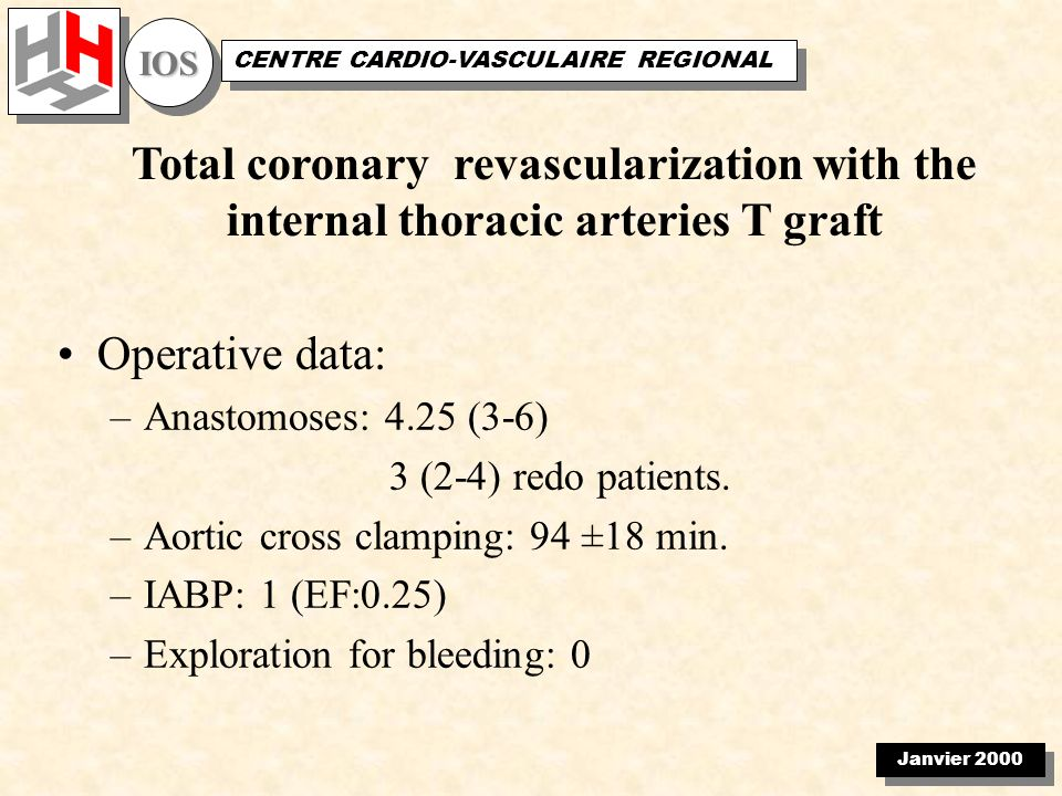 Janvier 2000 IOSIOS CENTRE CARDIO-VASCULAIRE REGIONAL Total coronary revascularization with the internal thoracic arteries T graft Operative data: –Anastomoses: 4.25 (3-6) 3 (2-4) redo patients.