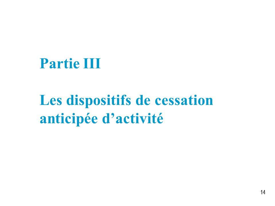 14 Partie III Les dispositifs de cessation anticipée dactivité