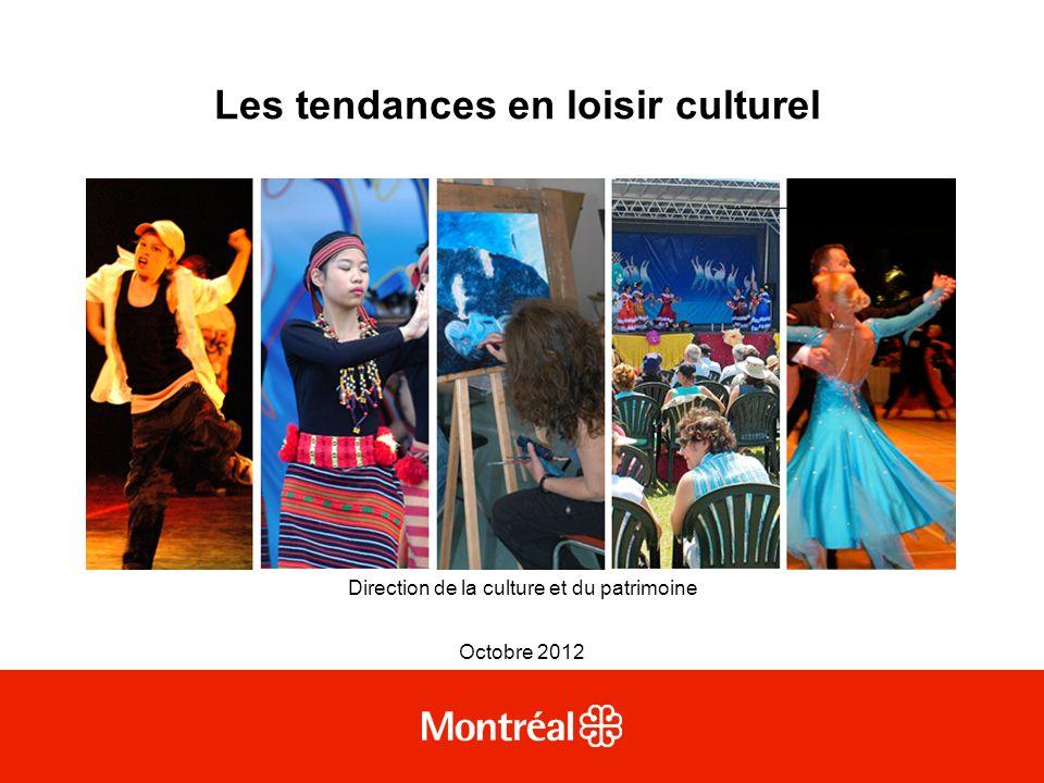 Les tendances en loisir culturel Direction de la culture et du patrimoine Octobre 2012