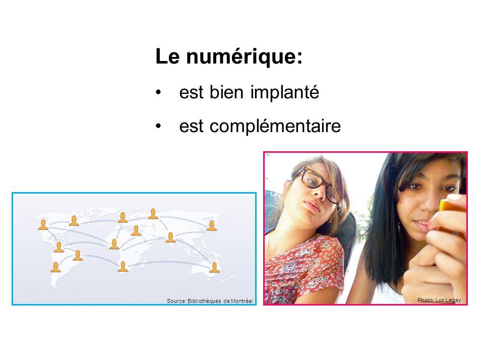 Le numérique: est bien implanté est complémentaire Photo: Luc Legay Source: Bibliothèques de Montréal