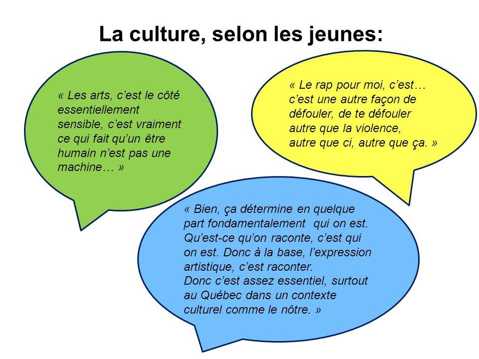 La culture, selon les jeunes: « Bien, ça détermine en quelque part fondamentalement qui on est.