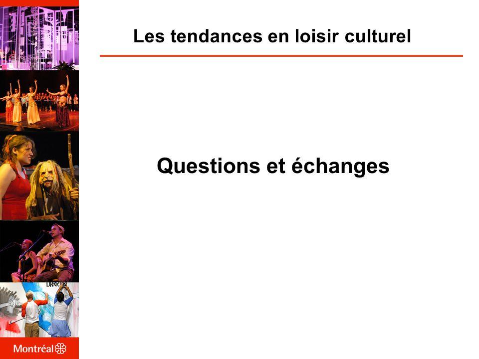 Les tendances en loisir culturel Questions et échanges