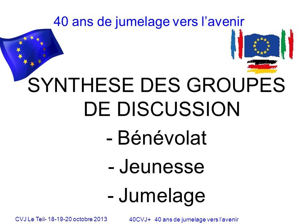 CVJ Le Teil- 18-19-20 octobre 2013 40CVJ+ 40 ans de jumelage vers lavenir SYNTHESE DES GROUPES DE DISCUSSION -Bénévolat -Jeunesse -Jumelage 40 ans de jumelage vers lavenir