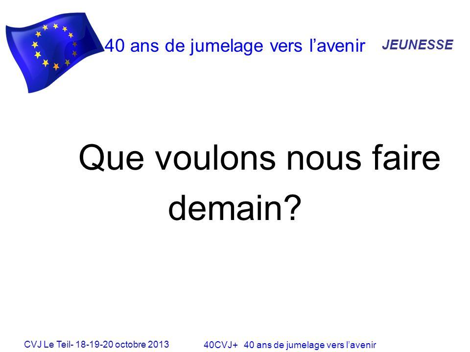 CVJ Le Teil- 18-19-20 octobre 2013 40CVJ+ 40 ans de jumelage vers lavenir 40 ans de jumelage vers lavenir Que voulons nous faire demain.