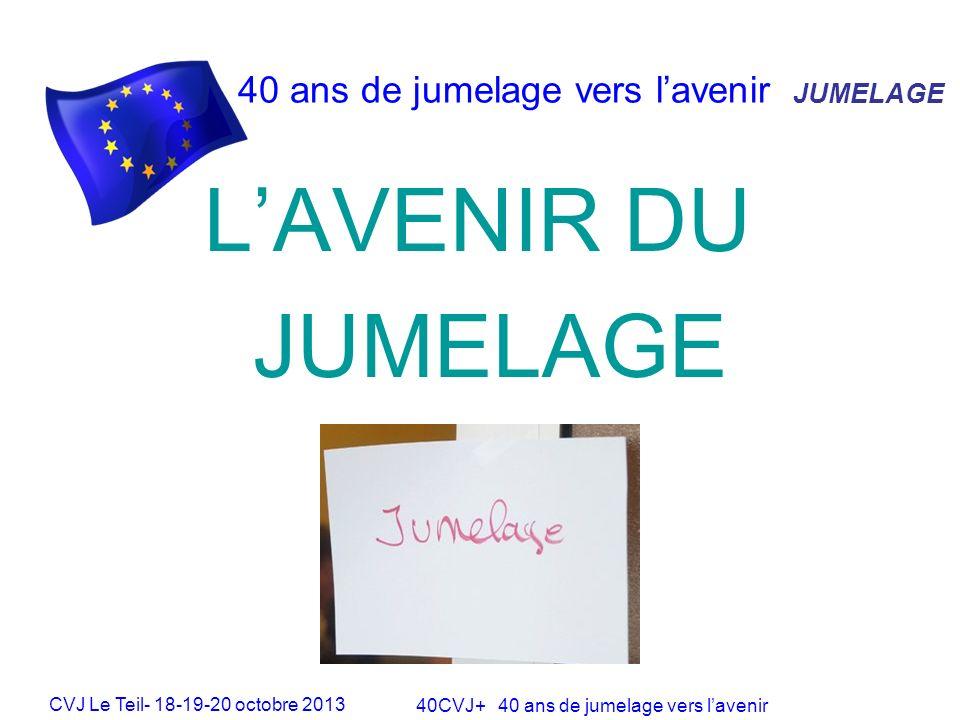 CVJ Le Teil- 18-19-20 octobre 2013 40CVJ+ 40 ans de jumelage vers lavenir 40 ans de jumelage vers lavenir LAVENIR DU JUMELAGE