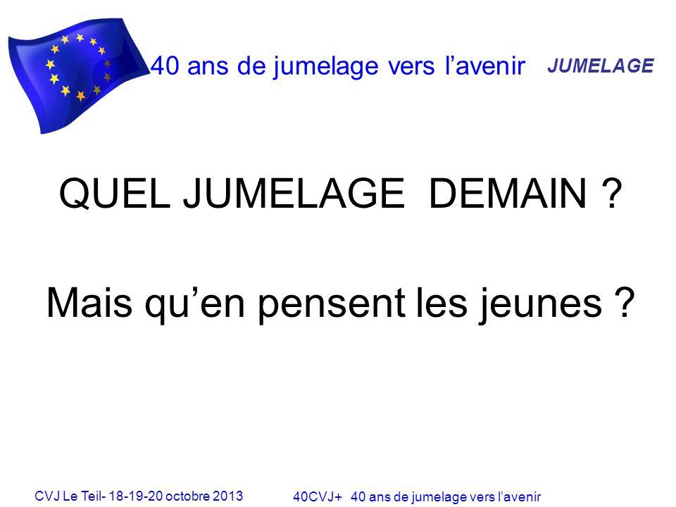 CVJ Le Teil- 18-19-20 octobre 2013 40CVJ+ 40 ans de jumelage vers lavenir 40 ans de jumelage vers lavenir JUMELAGE QUEL JUMELAGE DEMAIN .