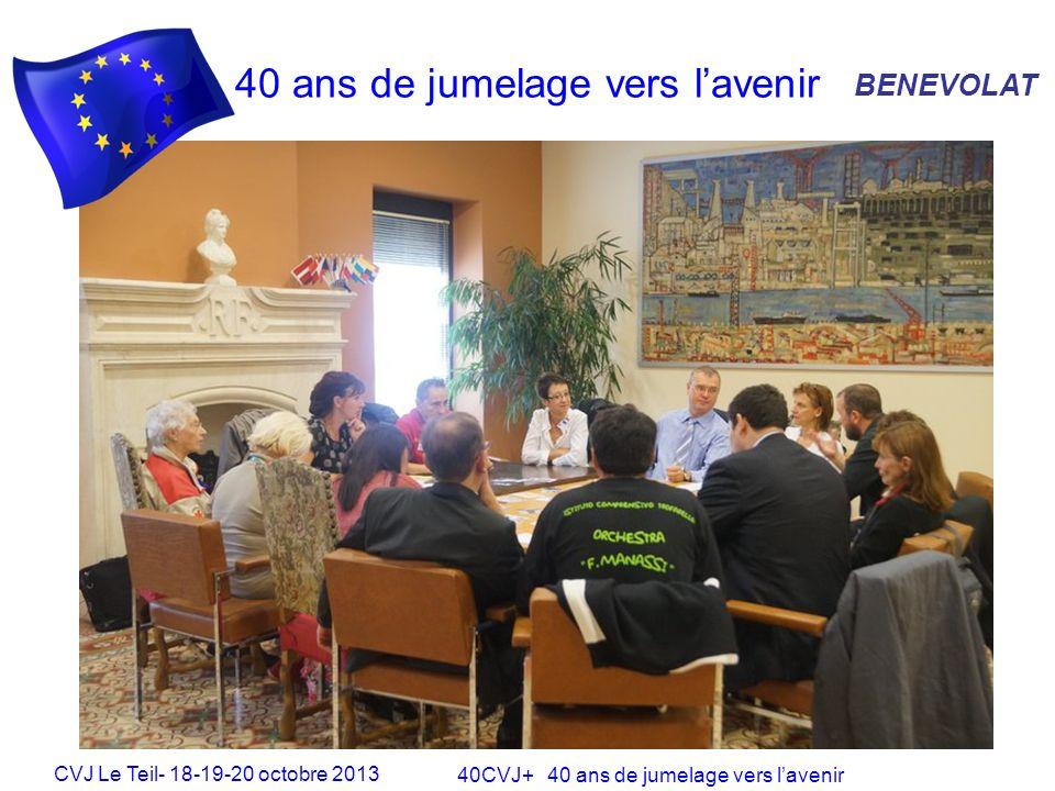 CVJ Le Teil- 18-19-20 octobre 2013 40CVJ+ 40 ans de jumelage vers lavenir 40 ans de jumelage vers lavenir BENEVOLAT Une méthode danimation active