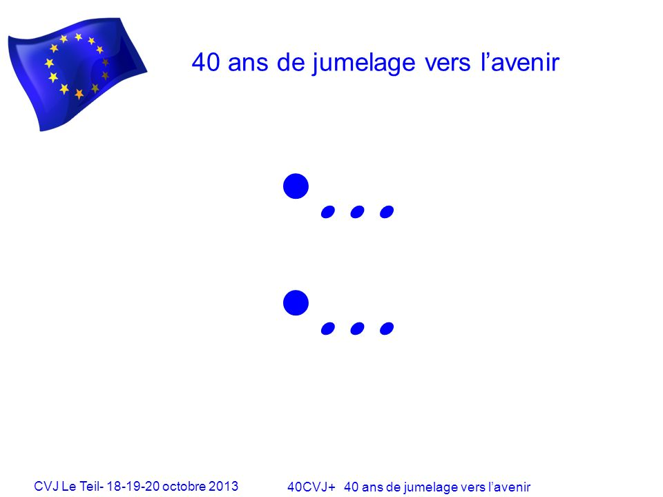 CVJ Le Teil- 18-19-20 octobre 2013 40CVJ+ 40 ans de jumelage vers lavenir 40 ans de jumelage vers lavenir …