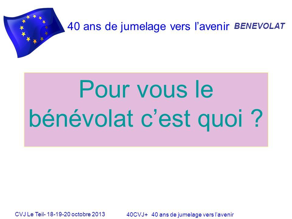 CVJ Le Teil- 18-19-20 octobre 2013 40CVJ+ 40 ans de jumelage vers lavenir 40 ans de jumelage vers lavenir Pour vous le bénévolat cest quoi .