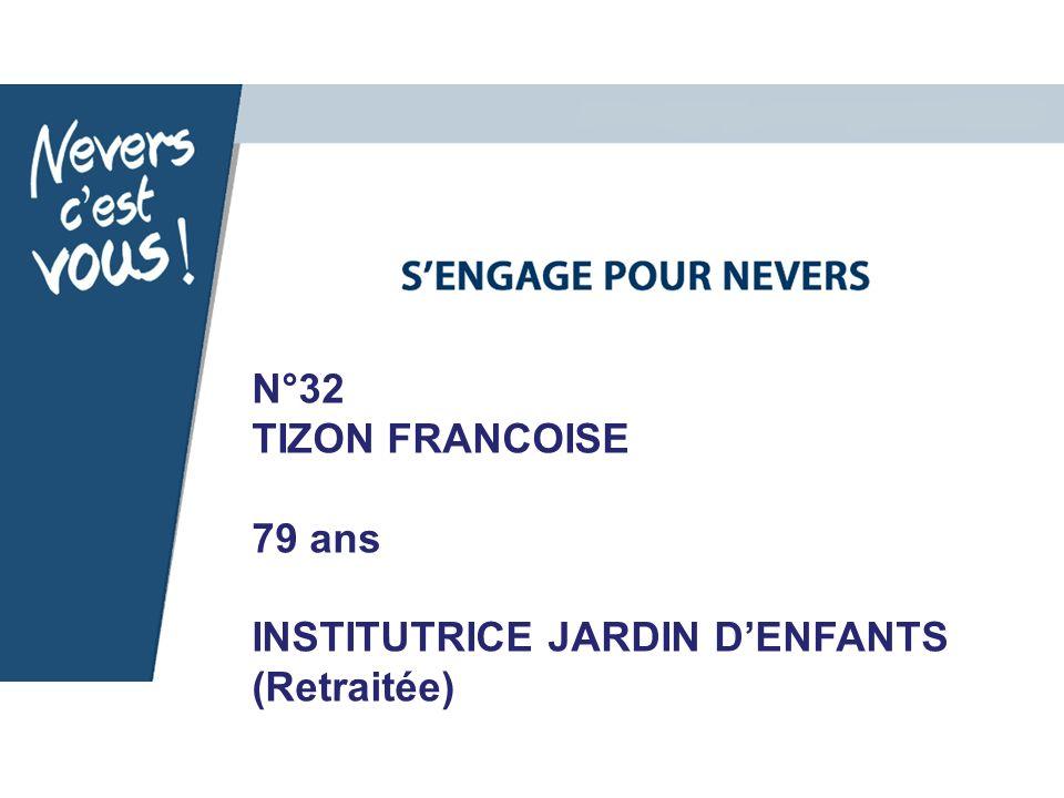 N°32 TIZON FRANCOISE 79 ans INSTITUTRICE JARDIN DENFANTS (Retraitée)