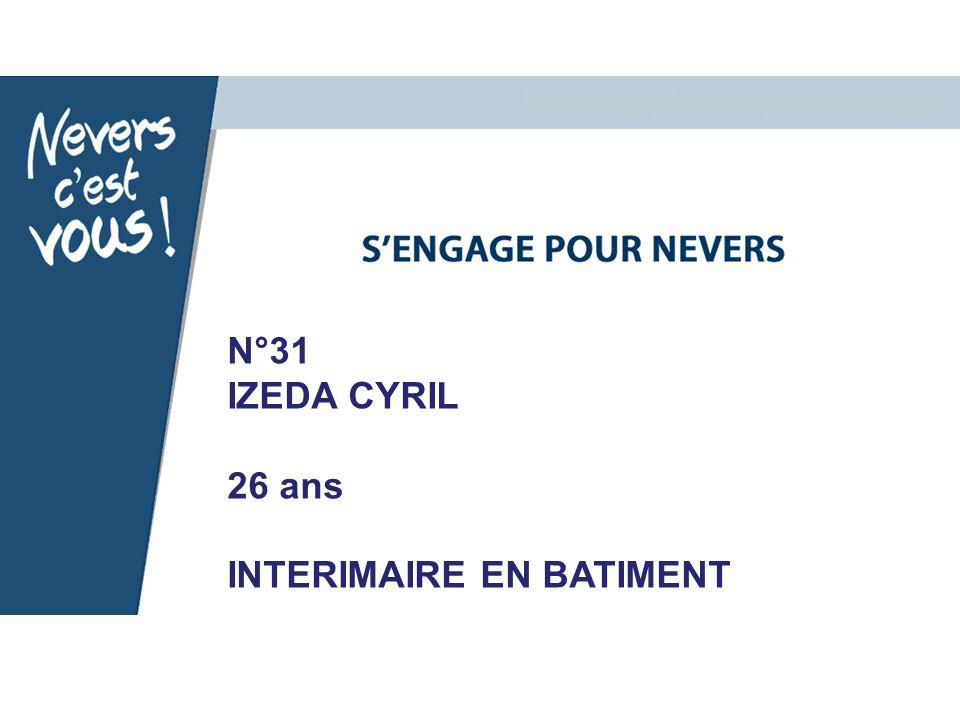 N°31 IZEDA CYRIL 26 ans INTERIMAIRE EN BATIMENT