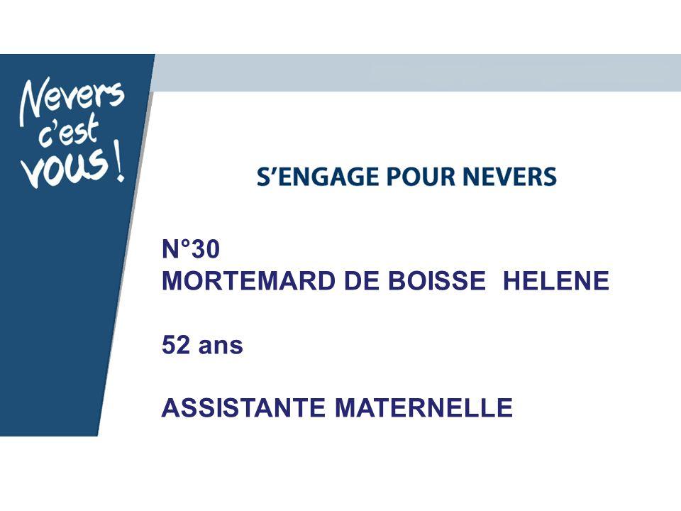 N°30 MORTEMARD DE BOISSE HELENE 52 ans ASSISTANTE MATERNELLE