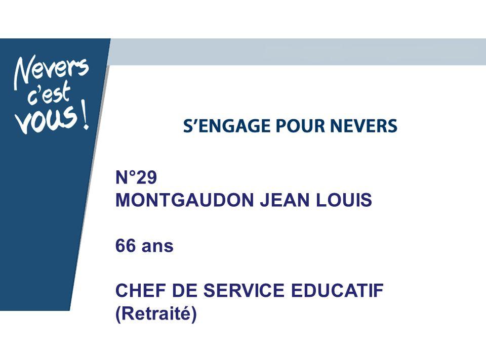 N°29 MONTGAUDON JEAN LOUIS 66 ans CHEF DE SERVICE EDUCATIF (Retraité)