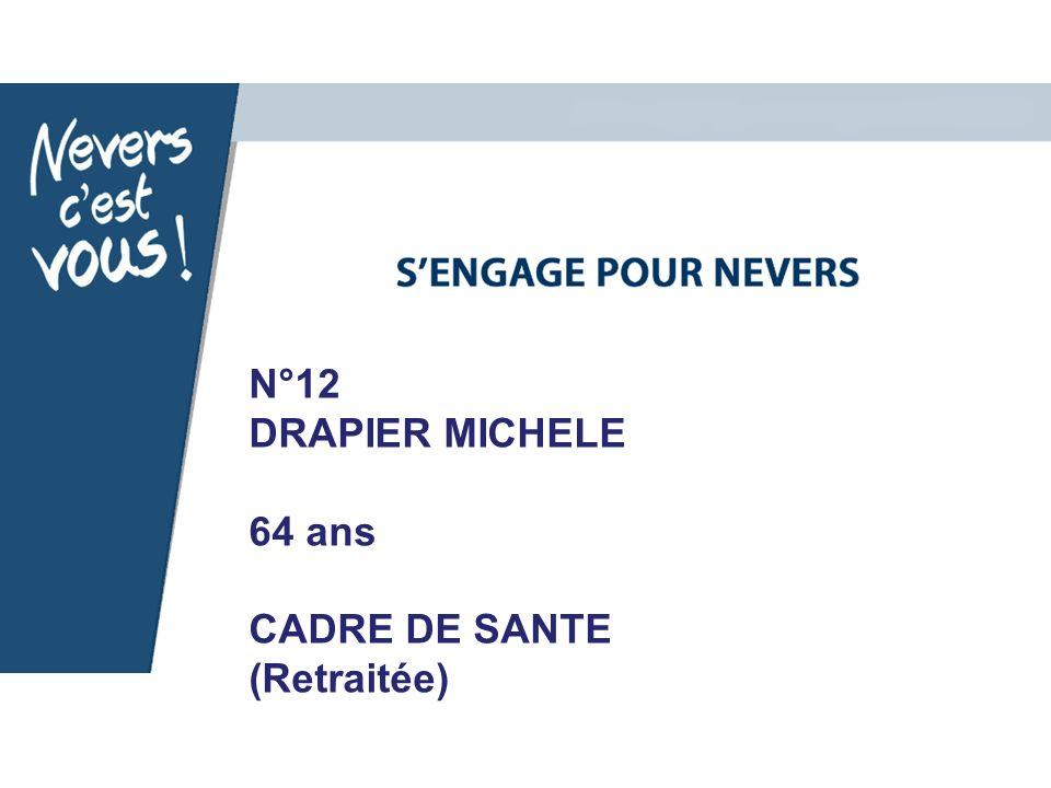 N°12 DRAPIER MICHELE 64 ans CADRE DE SANTE (Retraitée)