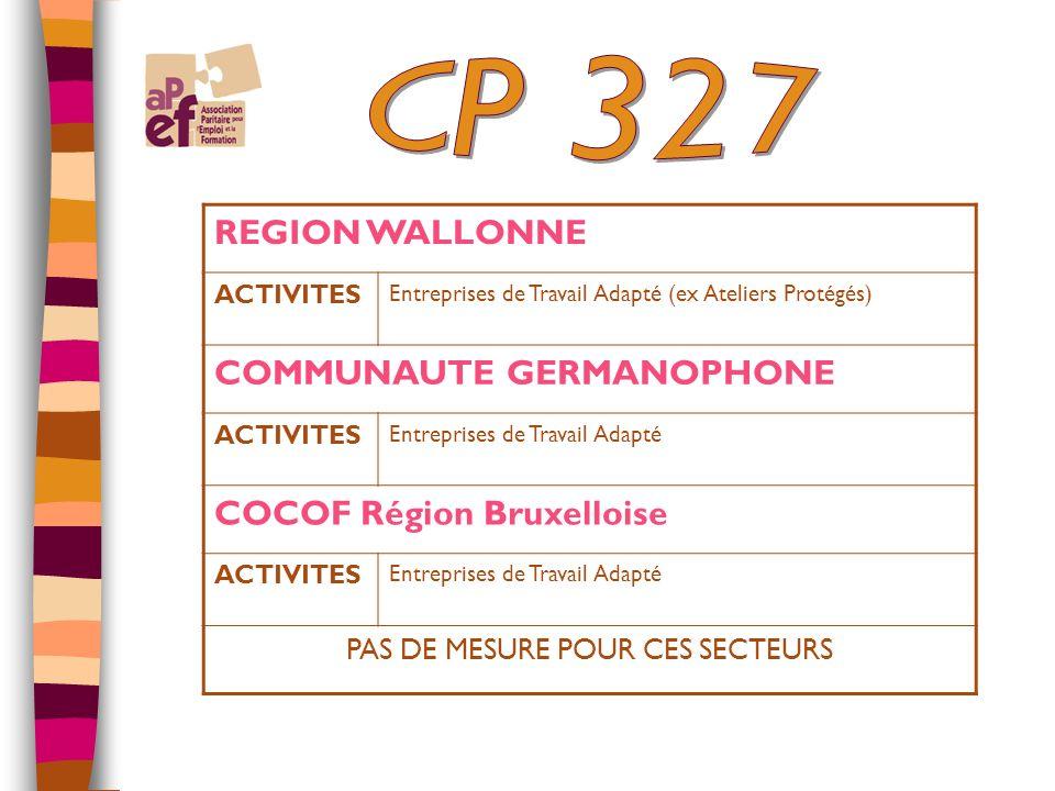 REGION WALLONNE ACTIVITES Entreprises de Travail Adapté (ex Ateliers Protégés) COMMUNAUTE GERMANOPHONE ACTIVITES Entreprises de Travail Adapté COCOF Région Bruxelloise ACTIVITES Entreprises de Travail Adapté PAS DE MESURE POUR CES SECTEURS