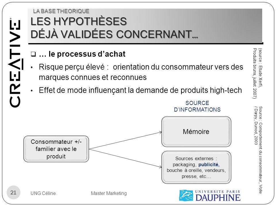 LES HYPOTHÈSES DÉJÀ VALIDÉES CONCERNANT… … le processus dachat Risque perçu élevé : orientation du consommateur vers des marques connues et reconnues