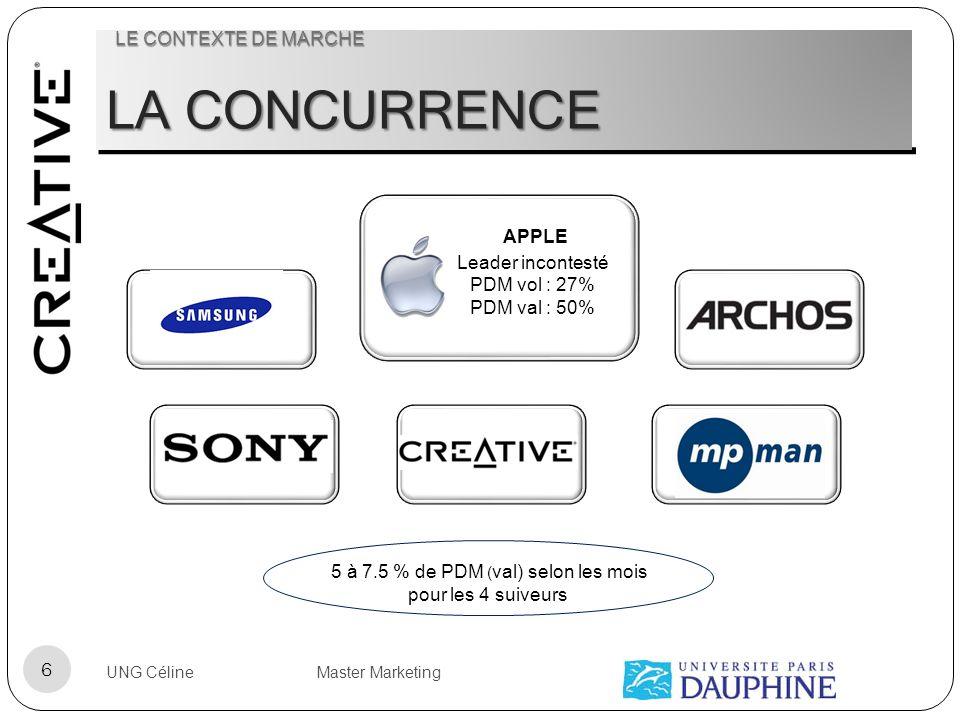 LA CONCURRENCE APPLE Leader incontesté PDM vol : 27% PDM val : 50% 5 à 7.5 % de PDM ( val) selon les mois pour les 4 suiveurs UNG Céline Master Market