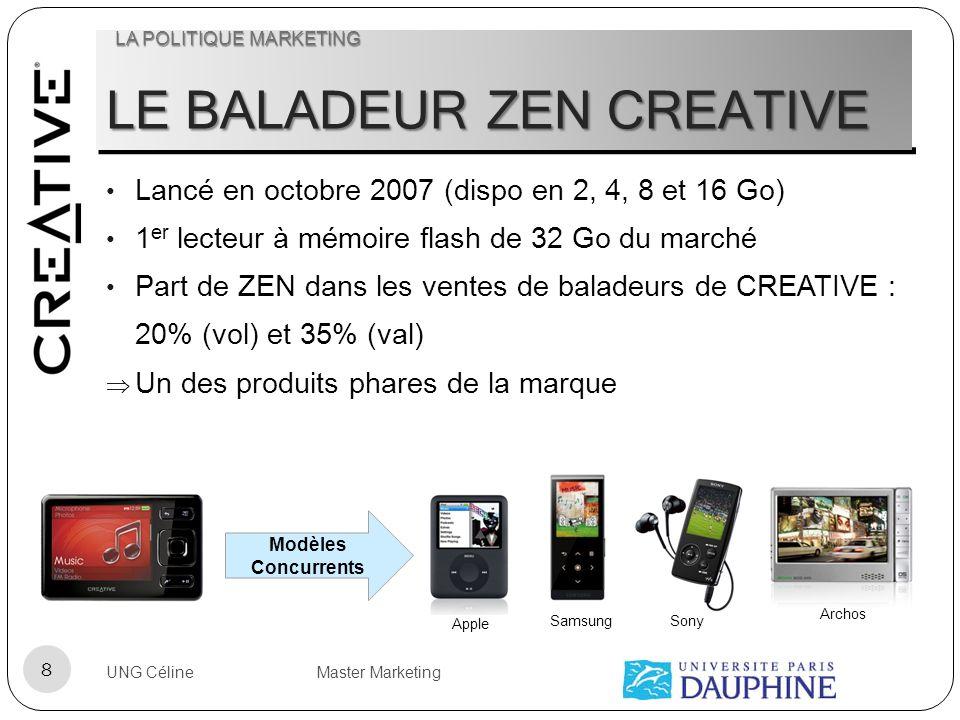 LE BALADEUR ZEN CREATIVE Lancé en octobre 2007 (dispo en 2, 4, 8 et 16 Go) 1 er lecteur à mémoire flash de 32 Go du marché Part de ZEN dans les ventes