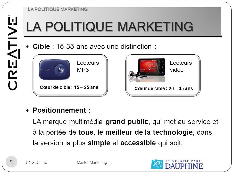 LA POLITIQUE MARKETING Cible : 15-35 ans avec une distinction : Positionnement : LA marque multimédia grand public, qui met au service et à la portée