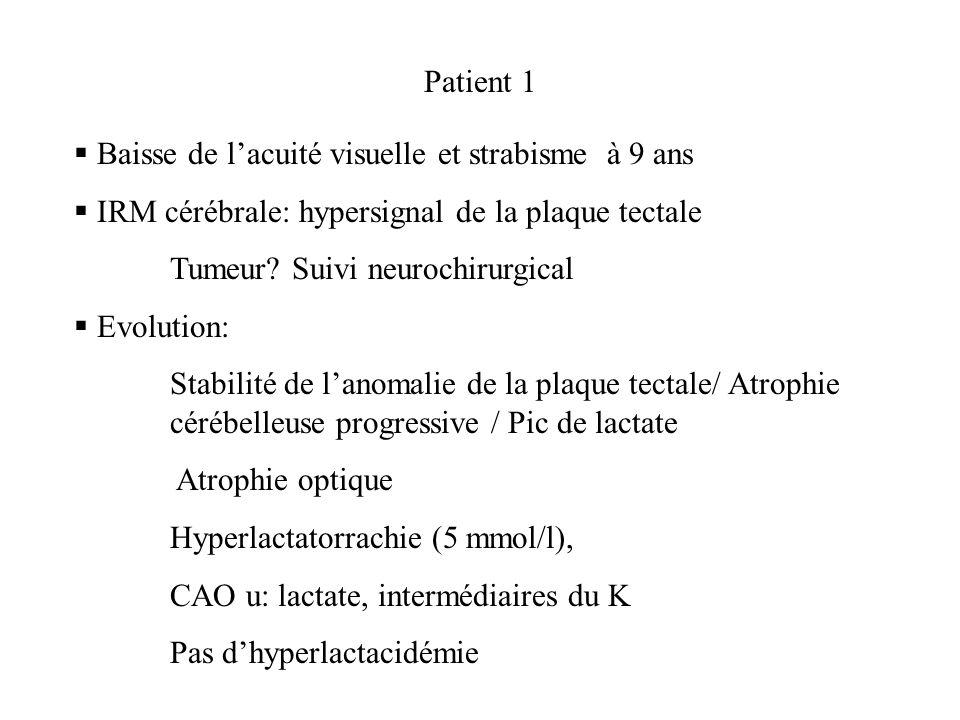 Patient 1 Baisse de lacuité visuelle et strabisme à 9 ans IRM cérébrale: hypersignal de la plaque tectale Tumeur? Suivi neurochirurgical Evolution: St