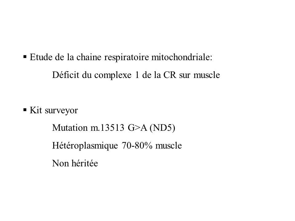 Etude de la chaine respiratoire mitochondriale: Déficit du complexe 1 de la CR sur muscle Kit surveyor Mutation m.13513 G>A (ND5) Hétéroplasmique 70-8