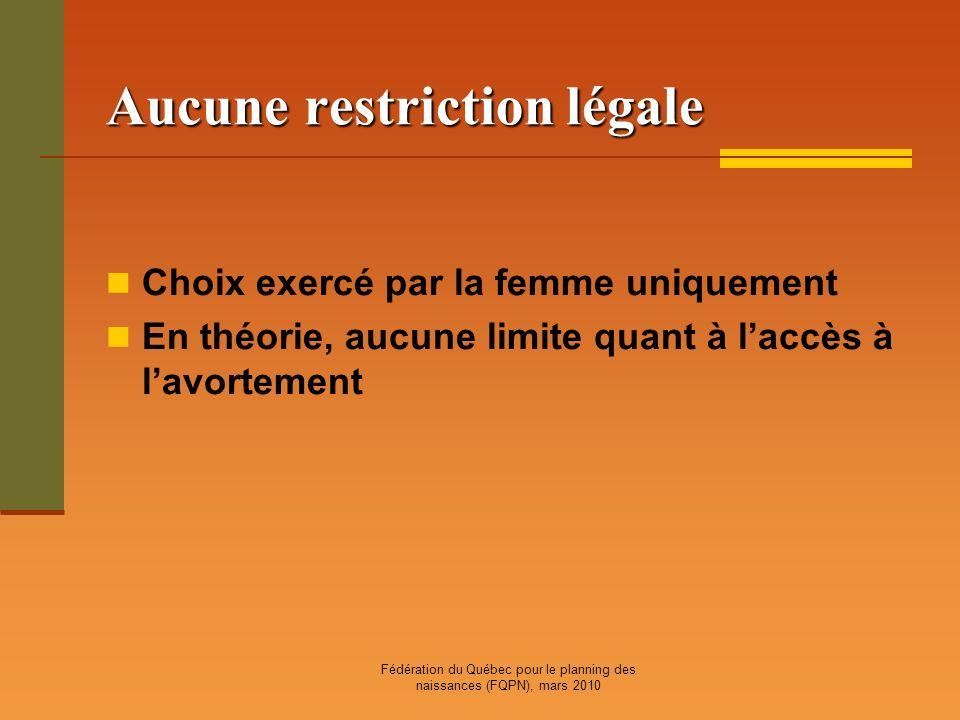Fédération du Québec pour le planning des naissances (FQPN), mars 2010 Aucune restriction légale Choix exercé par la femme uniquement En théorie, aucu