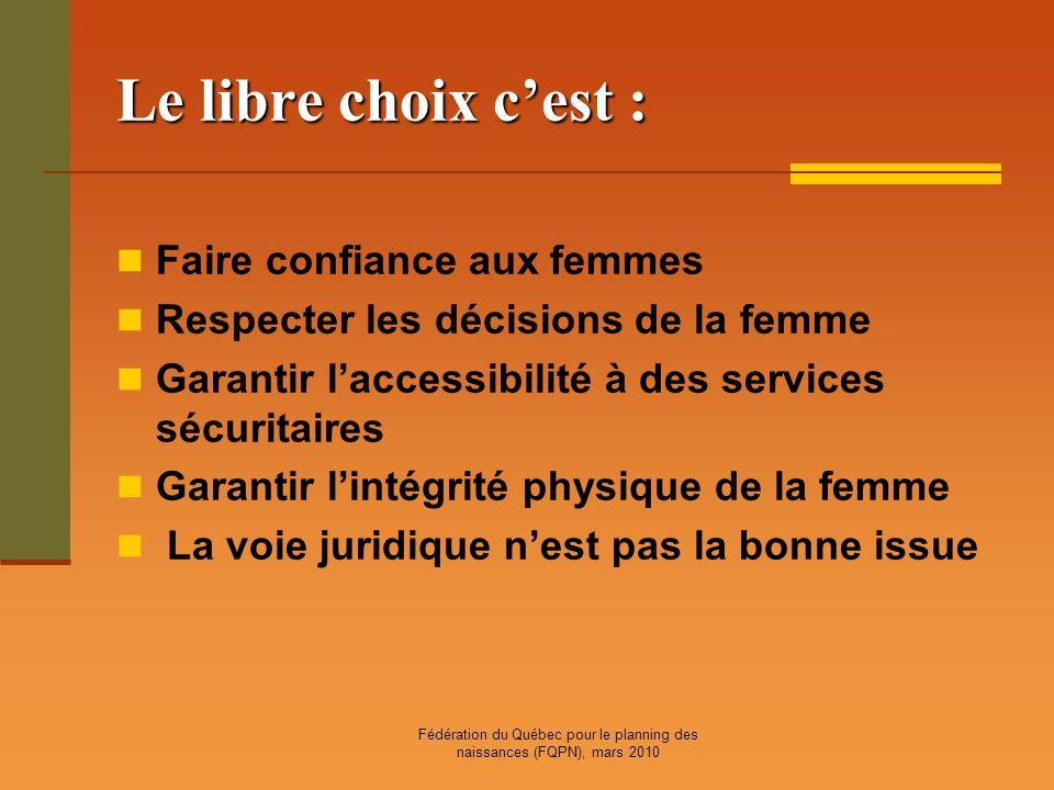 Fédération du Québec pour le planning des naissances (FQPN), mars 2010 Le libre choix cest : Faire confiance aux femmes Respecter les décisions de la