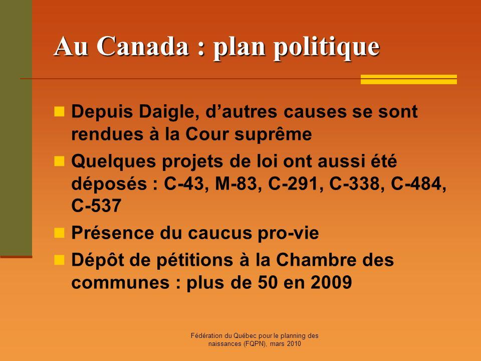 Fédération du Québec pour le planning des naissances (FQPN), mars 2010 Au Canada : plan politique Depuis Daigle, dautres causes se sont rendues à la C