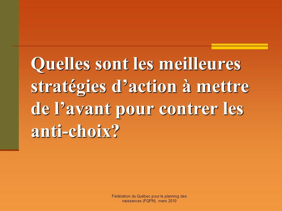 Fédération du Québec pour le planning des naissances (FQPN), mars 2010 Quelles sont les meilleures stratégies daction à mettre de lavant pour contrer