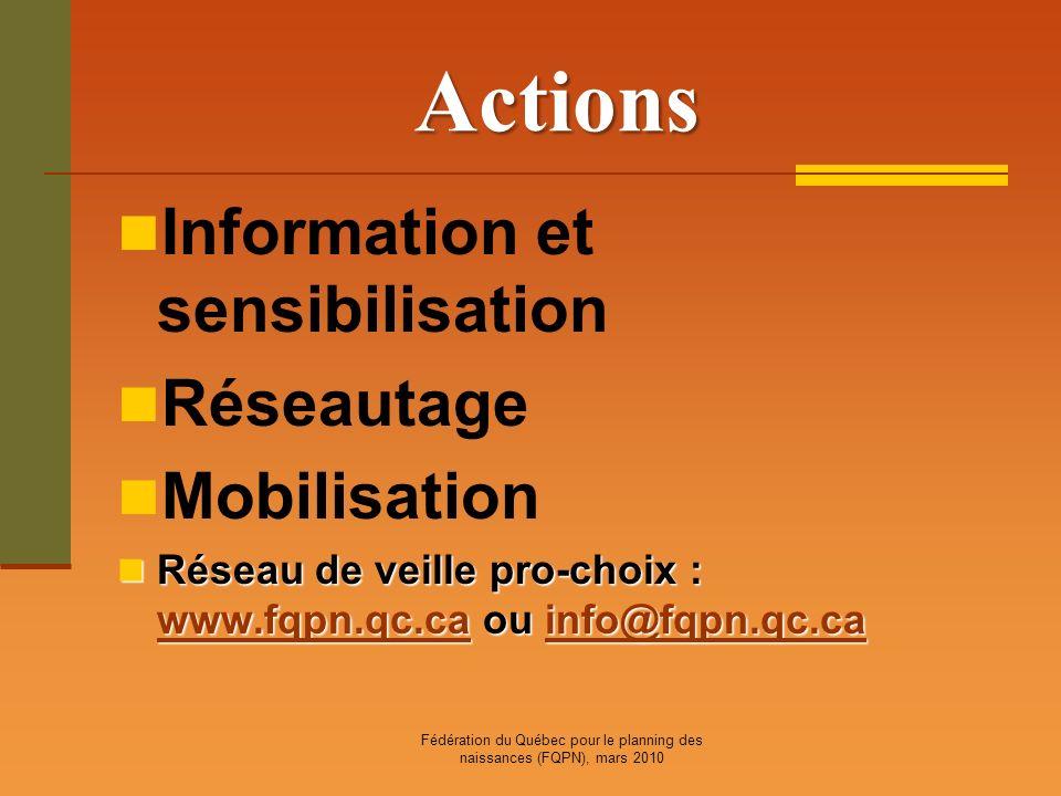 Fédération du Québec pour le planning des naissances (FQPN), mars 2010 Actions Information et sensibilisation Réseautage Mobilisation Réseau de veille