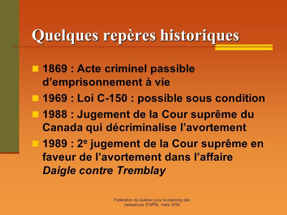 Fédération du Québec pour le planning des naissances (FQPN), mars 2010 Quelques repères historiques 1869 : Acte criminel passible demprisonnement à vi