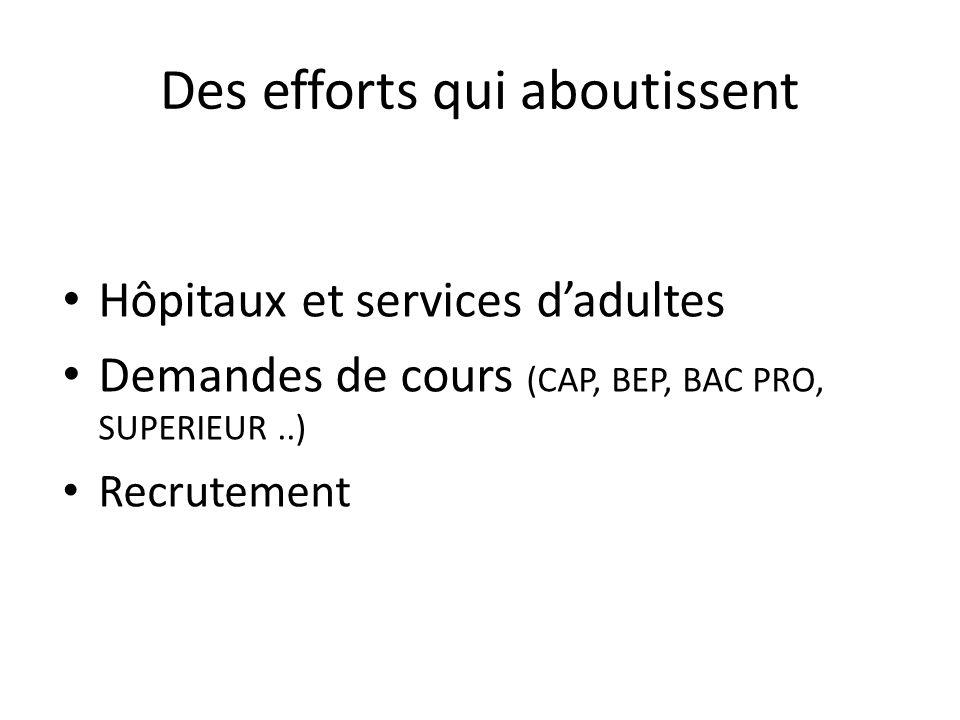 Des efforts qui aboutissent Hôpitaux et services dadultes Demandes de cours (CAP, BEP, BAC PRO, SUPERIEUR..) Recrutement