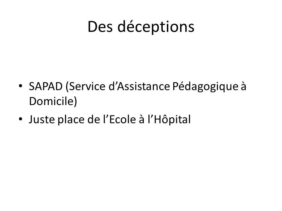 Des déceptions SAPAD (Service dAssistance Pédagogique à Domicile) Juste place de lEcole à lHôpital