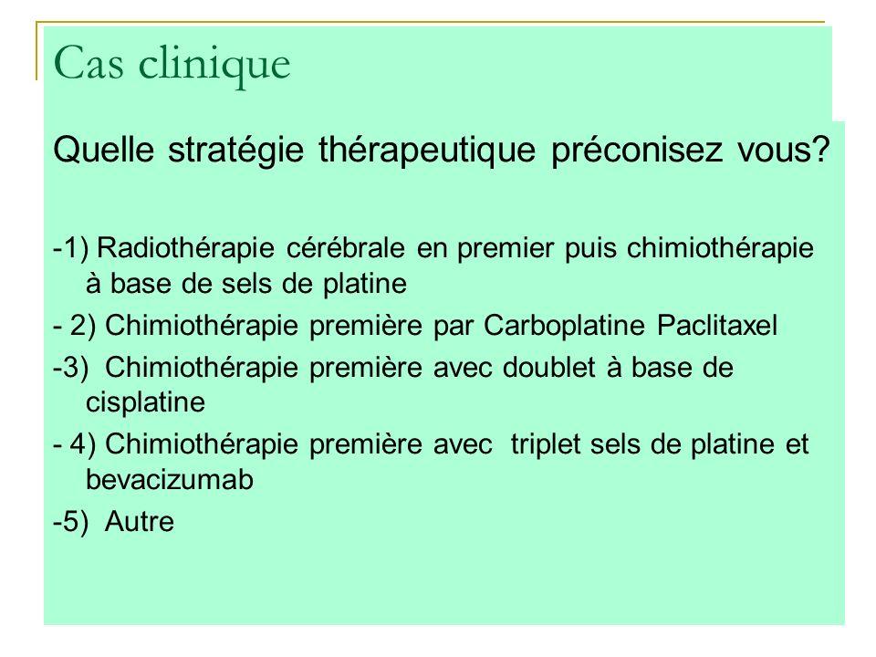 Cas clinique Quelle stratégie thérapeutique préconisez vous? -1) Radiothérapie cérébrale en premier puis chimiothérapie à base de sels de platine - 2)
